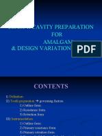 CLASS II AMALGAM CAVITY PREPARATION FOR AMALGAM