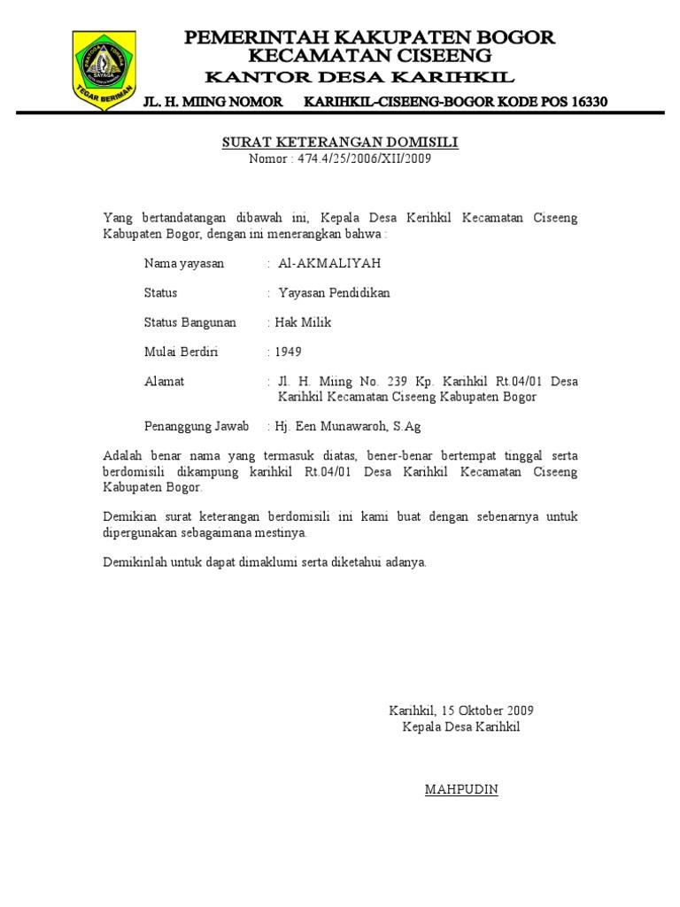 Contoh Surat Keterangan Domisili Sekolah Dari Desa