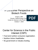 A Consumer Perspective on Biotech Foods (Gregory Jaffe, J.D.)