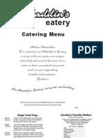 Aladdins catering menu