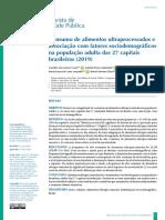 Consumo de alimentos ultraprocessados capitais do BR