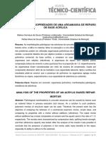ANÁLISE DAS PROPRIEDADES DE UMA ARGAMASSA DE REPARO DE BASE ACRÍLICA