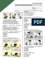 ATIVIDADE - CONJUNÇÃO - TIRINHAS - TUDO SALA DE AULA
