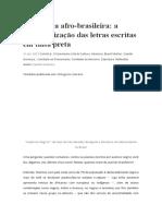 ARTIGO Literatura Afro-brasileira -A Marginalização
