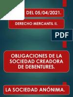 Clase de Derecho Mercantil II 05-04-2021. Continuidad de Debentures.