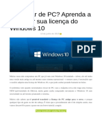 Transferir licença do windows