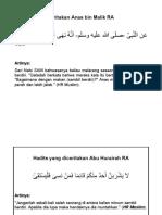 Hadits yang diceritakan Anas bin Malik RA