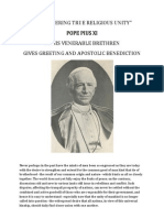On Fostering True Religious Unity - Pope Pius XI