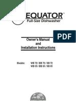 Dishwasher Installation Instructions (Equator SB-72) (151 S Mansfiled)