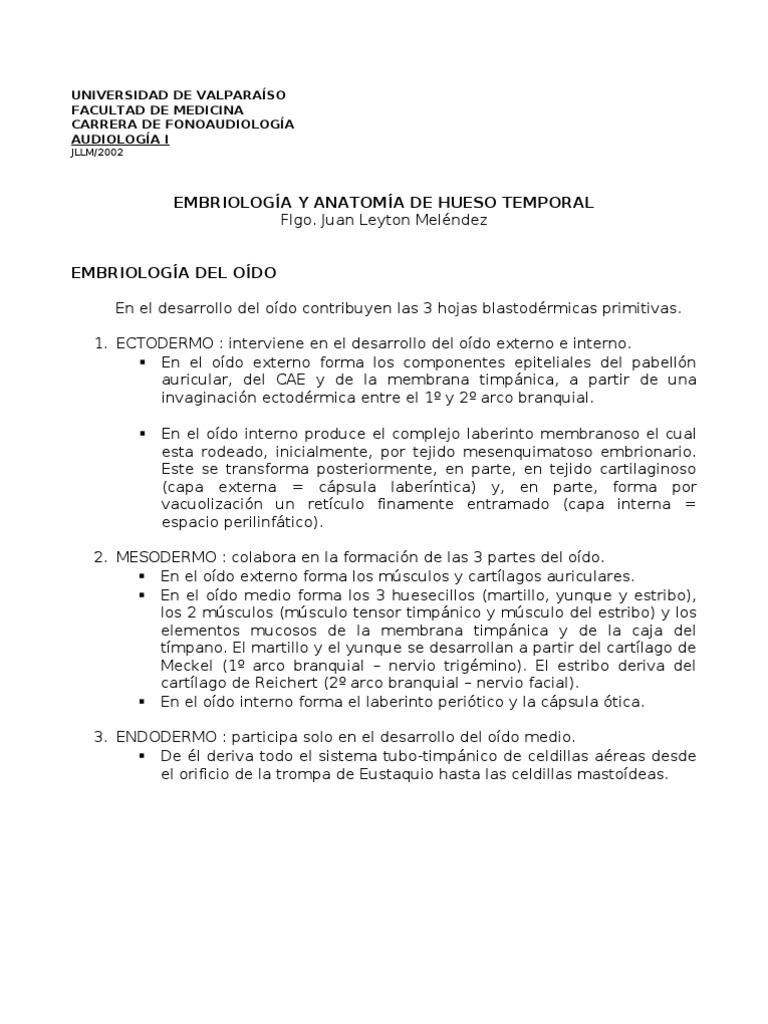 EMBRIOLOGIA Y ANATOMIA DE HUESO TEMPORAL