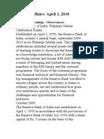 Current Affairs April 1, 2010