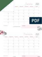 Calendários Mensais 2021