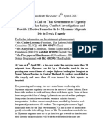 Thailand:Press Release Truck Tragedy-6 Myanmar Migrants Die- 6th April 2011