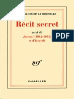 Récit Secret - Journal (1944-1945) - Exorde by Pierre Drieu La Rochelle [Rochelle, Pierre Drieu La] (Z-lib.org)