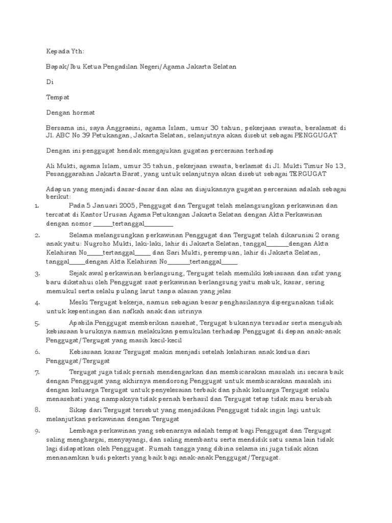 Contoh Surat Cerai Talak