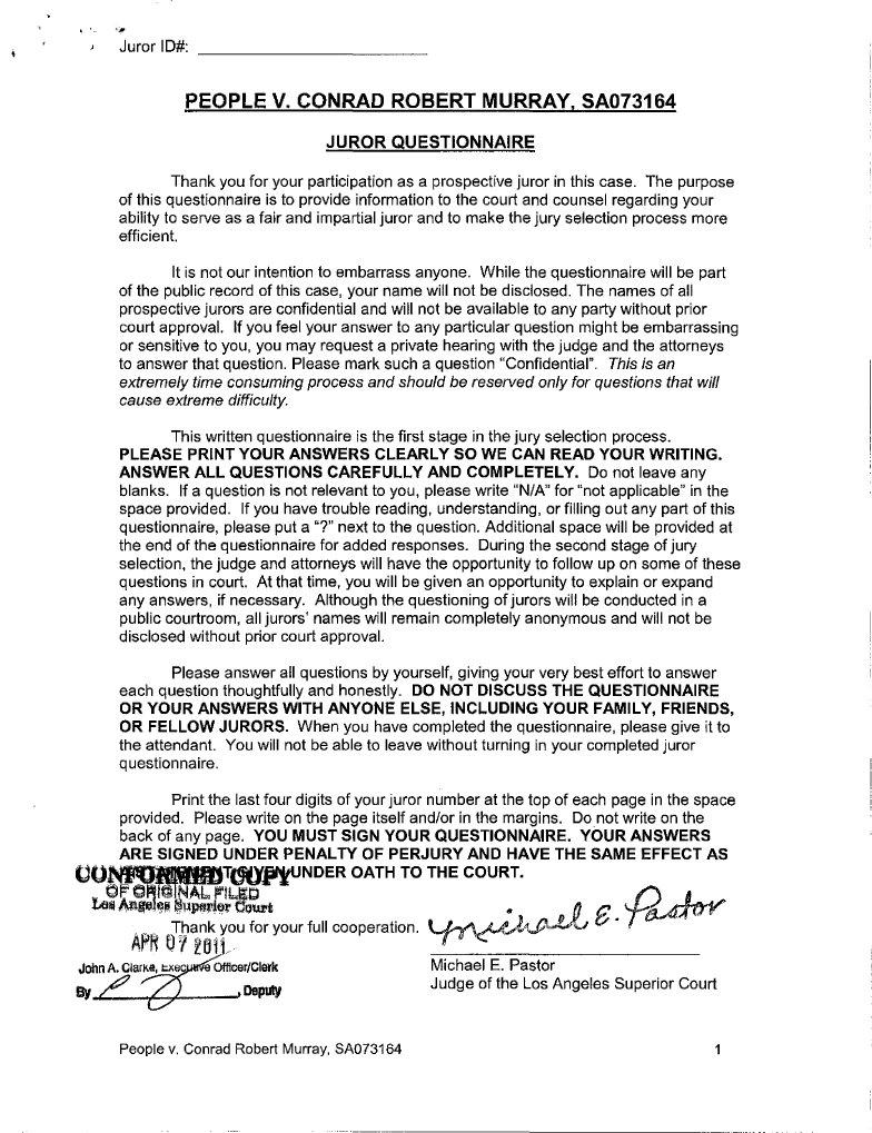Juror Questionnaire Murray Trial