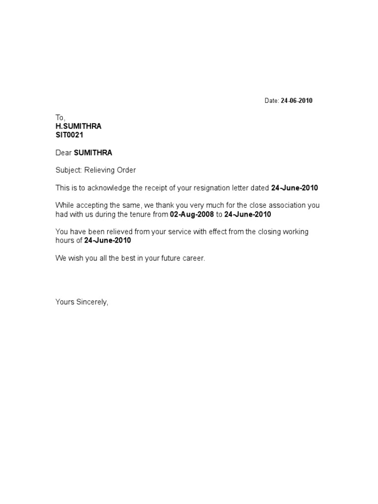 FORMAT OF RELIEVING LETTER – Proforma Resignation Letter