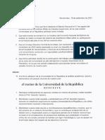Nota Rector Universidad de La Republica