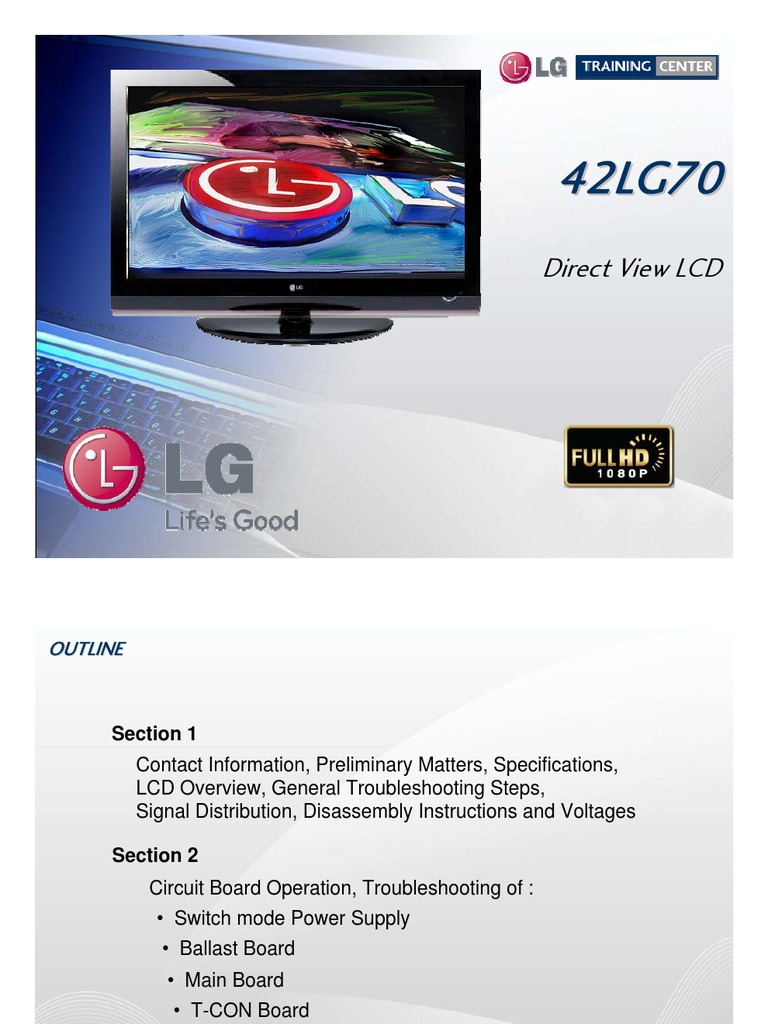 LG Training Manual LCD TV 42LG70 | Electrostatic Discharge | Power Supply