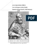 Cum Ex Apostolatus Officio - On Error in Respect of the Faith ( Pope Paul IV )