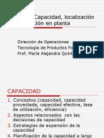 capacidad instalada de producción, localización y distribución