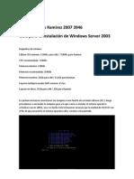 Guía para la instalación de Windows Server 2003