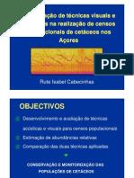 Comparação de técnicas visuais e acústicas na realização de censos populacionais de cetáceos nos Açores.