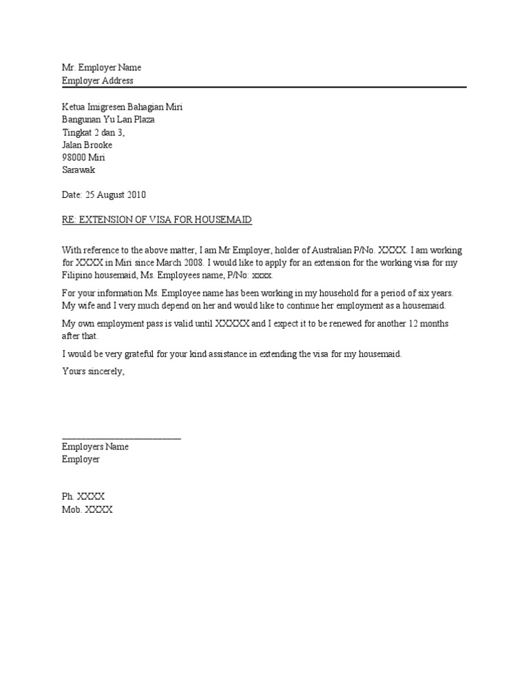 Letter of introduction from employer for visa application