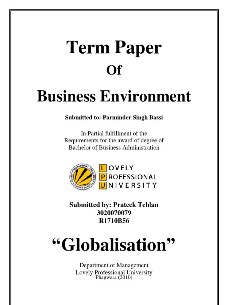 globalization term paper globalization outsourcing