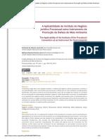 A Aplicabilidade Do Instituto Do Negócio Jurídico Processual Como Instrumento de Promoção Da Defesa Do Meio Ambiente