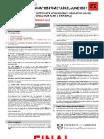 June 2011 Final IGCSE GCE Timetable (Zone 2)