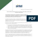 Comunicado de Prensa - Proceso Auditoría Antel Arena