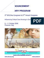 3° Congresso EfFECNa e 27 Congresso ANIARTI - Influencing Critical Care Nursing in Europe