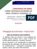 DOCENCIA DO ENSINO DE NÍVEL TECNICO E SUPERIOR