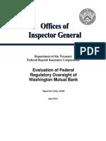 Evaluation of Federal Regulatory Oversight of Washington Mutual Bank