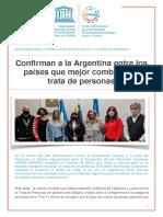 Confirman a la Argentina entre los países que mejor combaten la trata de personas
