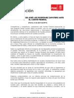 Intervención Rodríguez Zapatero ante CF 020411