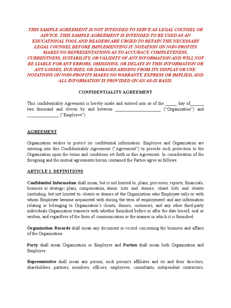 Sample Confidentiality Agreement For Non Profits | Confidentiality | Non  Disclosure Agreement