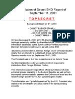 Translation of Secret BND Report of September 11 - T O P S E C R E T