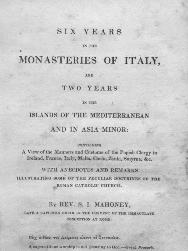 0900b255a2115 Six Years in the Monasteries of Italy   Penance   Confession (Religion)