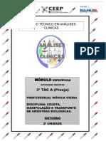COLETA, MANIPULAÇÃO E TRANSPORTE DE AMOSTRAS BIOLÓGICAS 3º TAC - A NOT