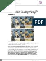 Università, domani la presentazione della collezione mineralogica Sergio Pegoraro - Vivereurbino.it, 23 settembre 2021