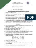 Lista de exercicios - Termodinamica - Eletroquimica - Kps - Quimica Geral