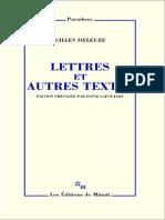 (Paradoxe) Gilles Deleuze - Lettres et autres textes-Les Éditions de Minuit (2015)