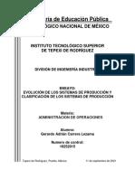 EVOLUCIÓN DE LOS SISTEMAS DE PRODUCCIÓN Y CLASIFICACIÓN DE LOS SISTEMAS DE PRODUCCIÓN
