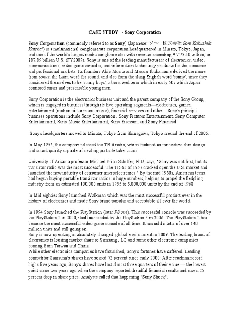 sony company case study report
