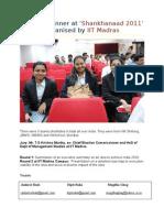 Winning performance by Welingkar students at 'Shankhnaad 2011' at IIT Madras