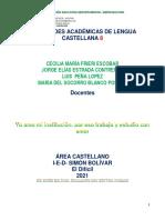 8 ACTIVIDADES ACADÉMICAS DE LENGUA CASTELLANA 8 grado 1 periodo