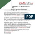 www.onlinetexte.com - Pressemeldung 2011-15 - Das Blog von ONLINETEXTE.com ab sofort mit neuer Infotainment-Rubrik