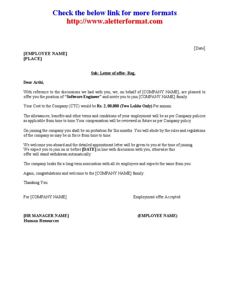 OfferLetterAppointmentOrdersampleformat – Appointment Letter